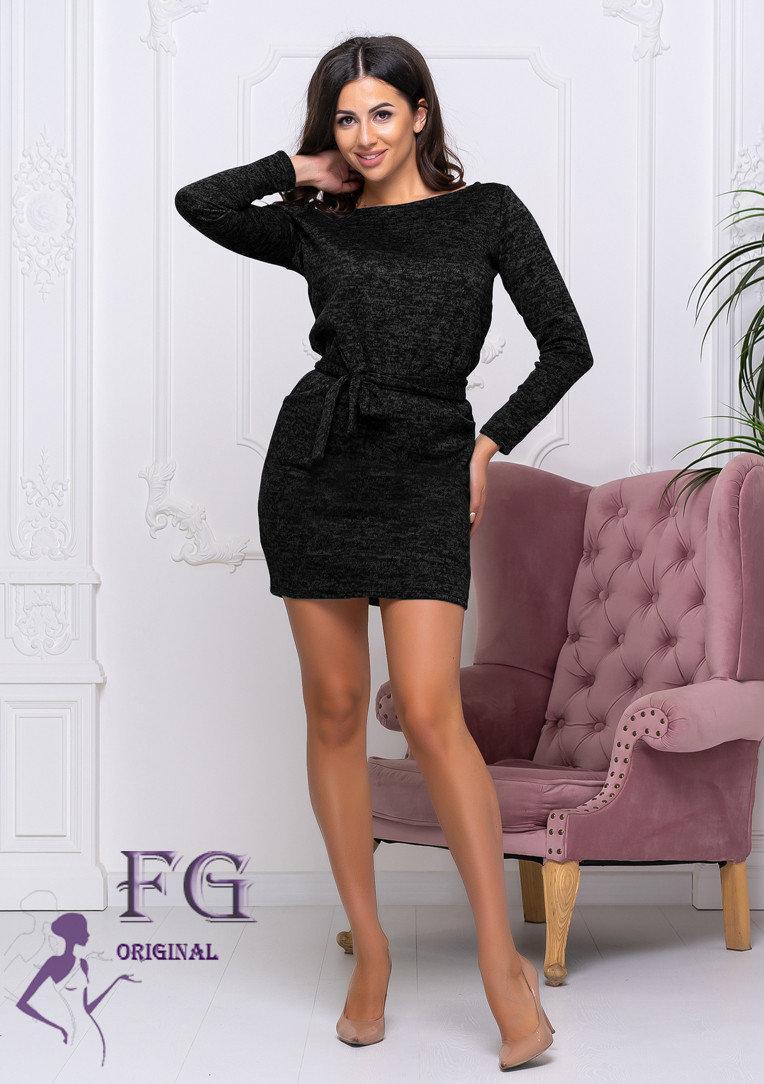 Полуприталенное демисезонное платье выше колен черное