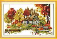 Набор для вышивания крестом Домик Осень 55х38