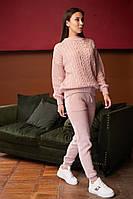 Женский вязанный костюм брючный, джемпер свободный с брюками, over size 44-48, цвета в ассортименте код 4080К, фото 1