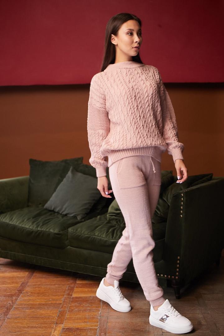 Женский вязанный костюм брючный, джемпер свободный с брюками, over size 44-48, цвета в ассортименте код 4080К