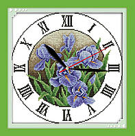 Набор для вышивания крестом Ирисы (Часы) 23x23