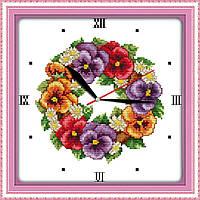 Набор для вышивания крестом Маки (Часы) 20x20