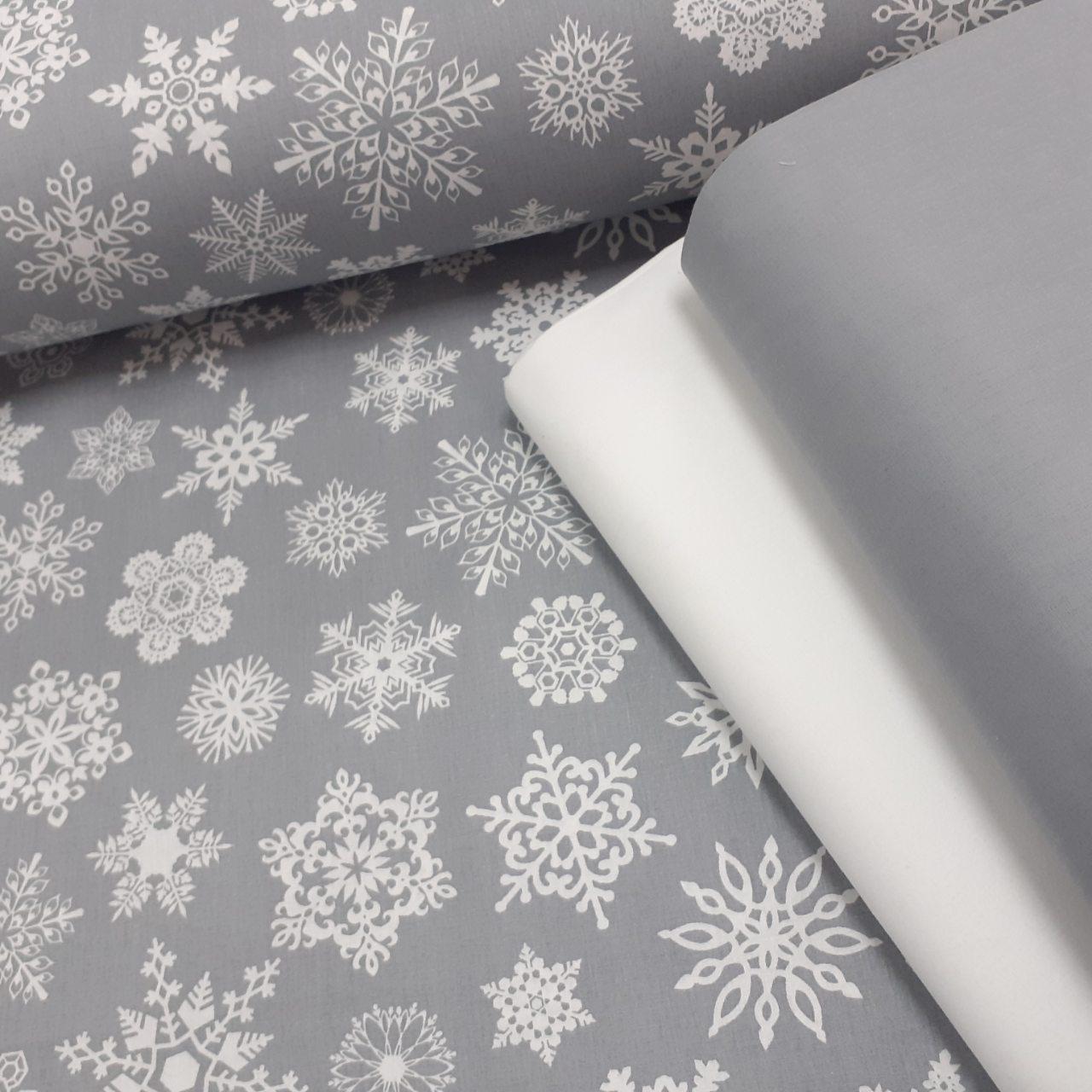 Хлопковая ткань (ТУРЦИЯ шир. 2,4 м) белые снежинки на сером