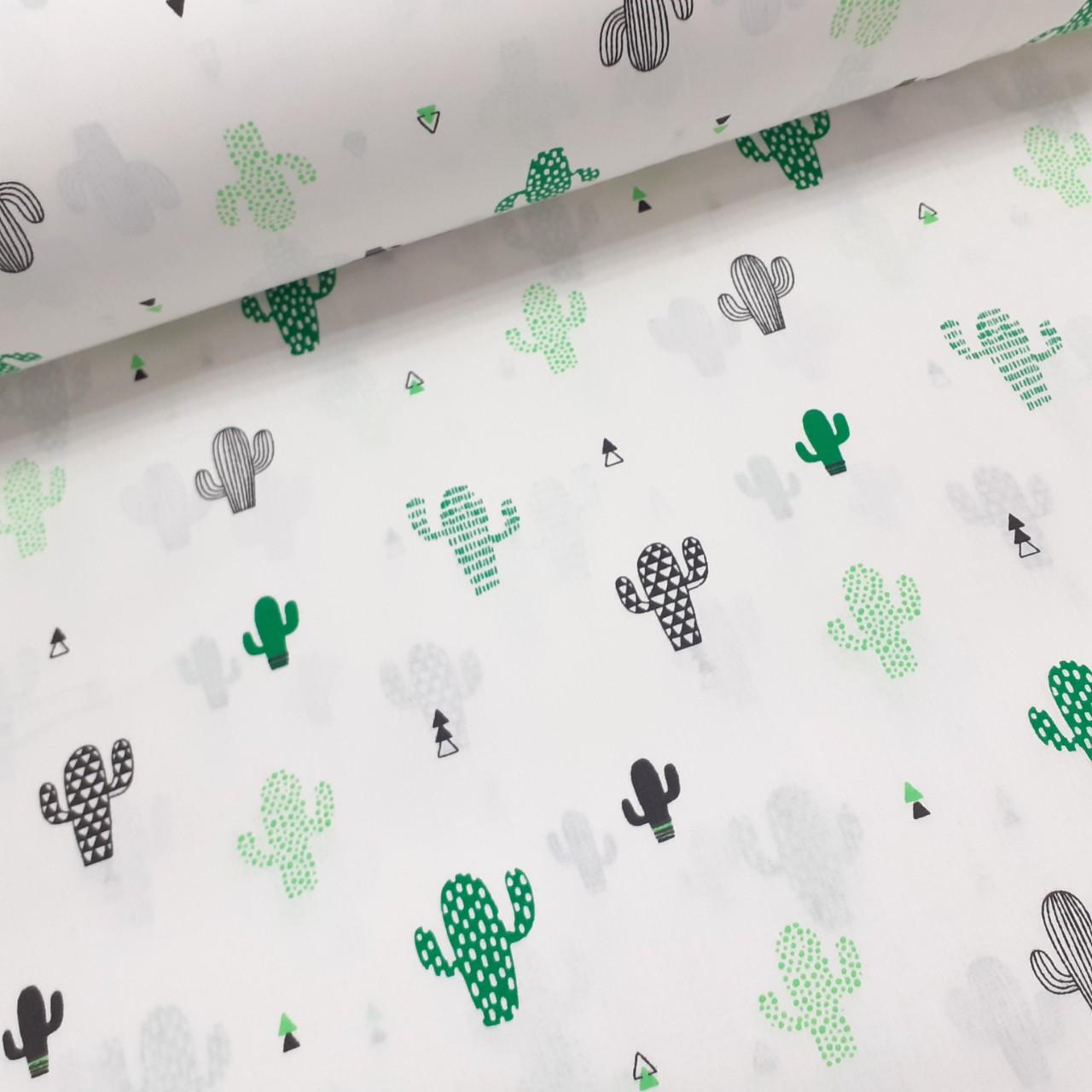 Хлопковая ткань (ТУРЦИЯ шир. 2,4 м) зеленые и черные кактусы на белом