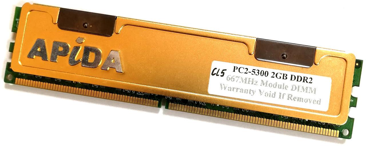 Игровая оперативная память Apida DDR2 2Gb 667MHz PC2 5300U CL5 Б/У