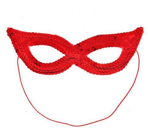 Красная маска карнавальная из пайеток