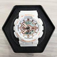 Часы Casio GA-110 Бело-золотистые. Спортивные часы.