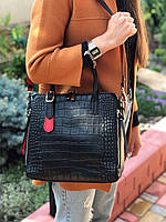 Жіноча шкіряна сумка зі структурою крокодила чорного кольору, фото 3