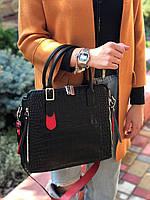 Жіноча шкіряна сумка зі структурою крокодила чорного кольору, фото 2
