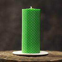 Свеча из пчелиного воска, зеленая
