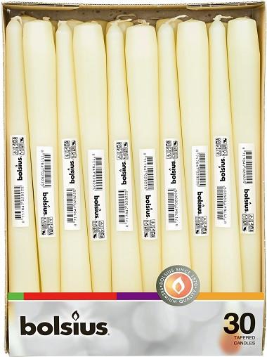 Свічка кремова конічна Bolsius 24.5 см 30 шт (8717847029225)