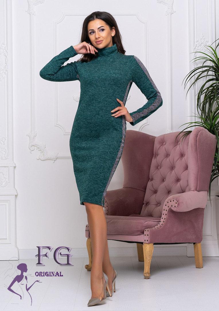 Зимнее платье из ангоры до колен по фигуре темно-зеленое