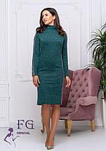 Зимнее платье из ангоры до колен по фигуре темно-зеленое, фото 2