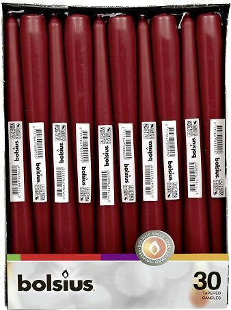 Свеча бордовая коническая Bolsius 24.5 см 30 шт (8717847029256)