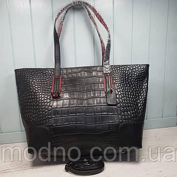 Женская кожаная сумка  шоппер со структурой крокодила