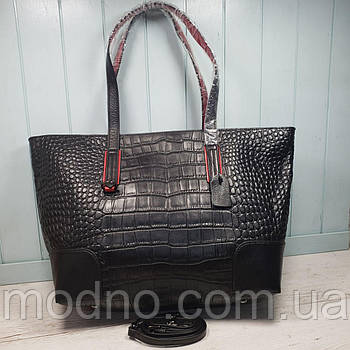 Жіноча шкіряна сумка шоппер зі структурою крокодила