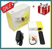 Портативный проектор Projector LED YG300 Mini с динамиком мультимедийный карманный проектор желтый