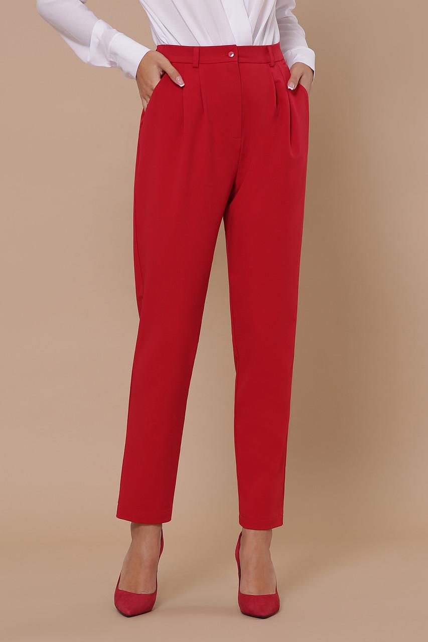 Классические однотонные женские прямые красные брюки с высокой талией Бакси брюки
