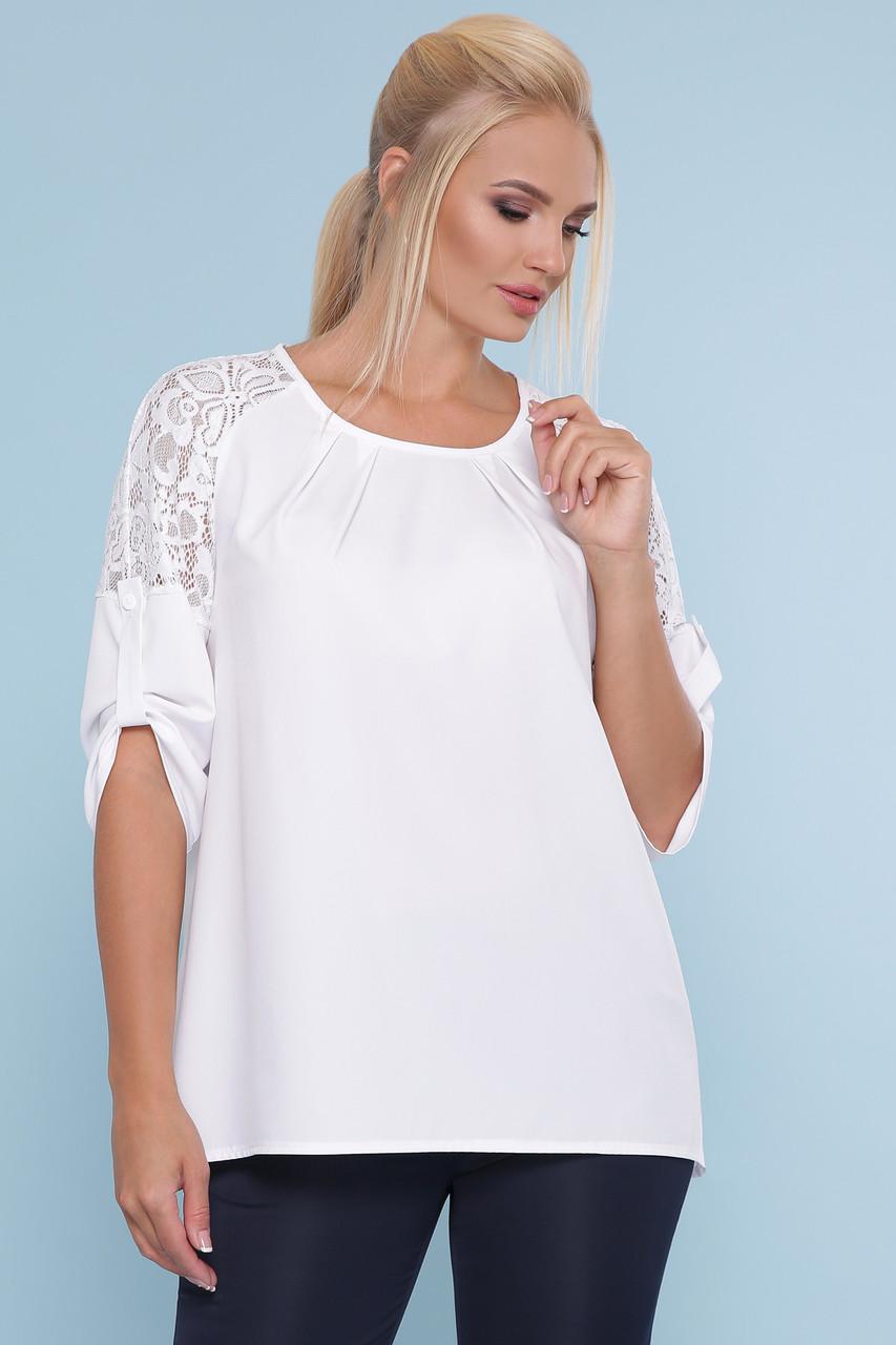 Универсальная женская белая блуза больших размеров со вставкой с гипюра и рукавами три четверти Блуза Гретта-Б 3/4
