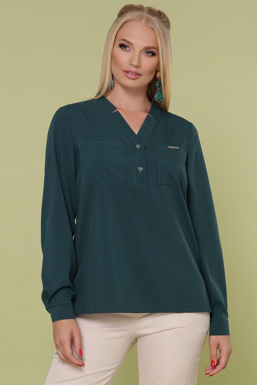 Женская офисная зеленая прямая блуза с V-образным вырезом без пуговиц большие размеры блуза Жанна-Б д/р