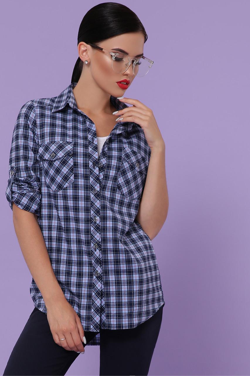 Женская универсальная рубашка в клетку с карманами блуза Пальмира д/р синий-голубой красный