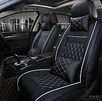 Набор стильных универсальных чехлов в автомобиль из искусственной кожи + 4 подушки Чехлы в машину