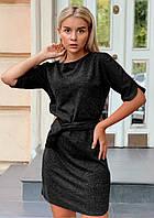 Однотонное платье с поясом мини черное