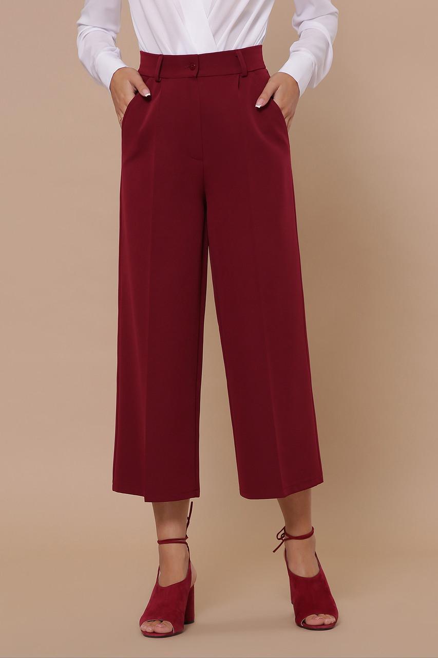 Женские однотонные с высокой посадкой бордовые брюки кюлоты Эби