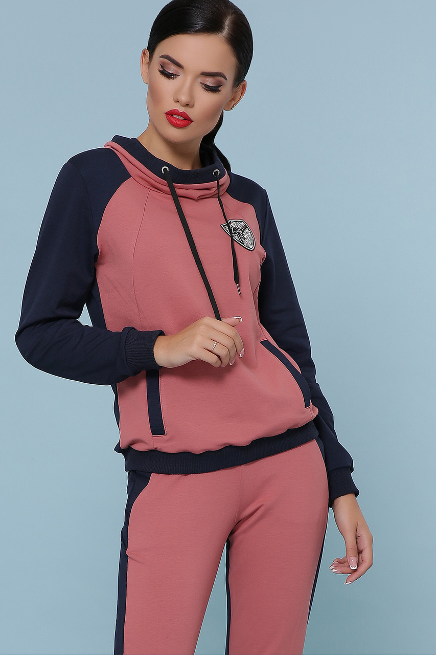 Женский спортивный костюм двухцветный кофта с капюшоном и штаны на манжетах Костюм Стрит