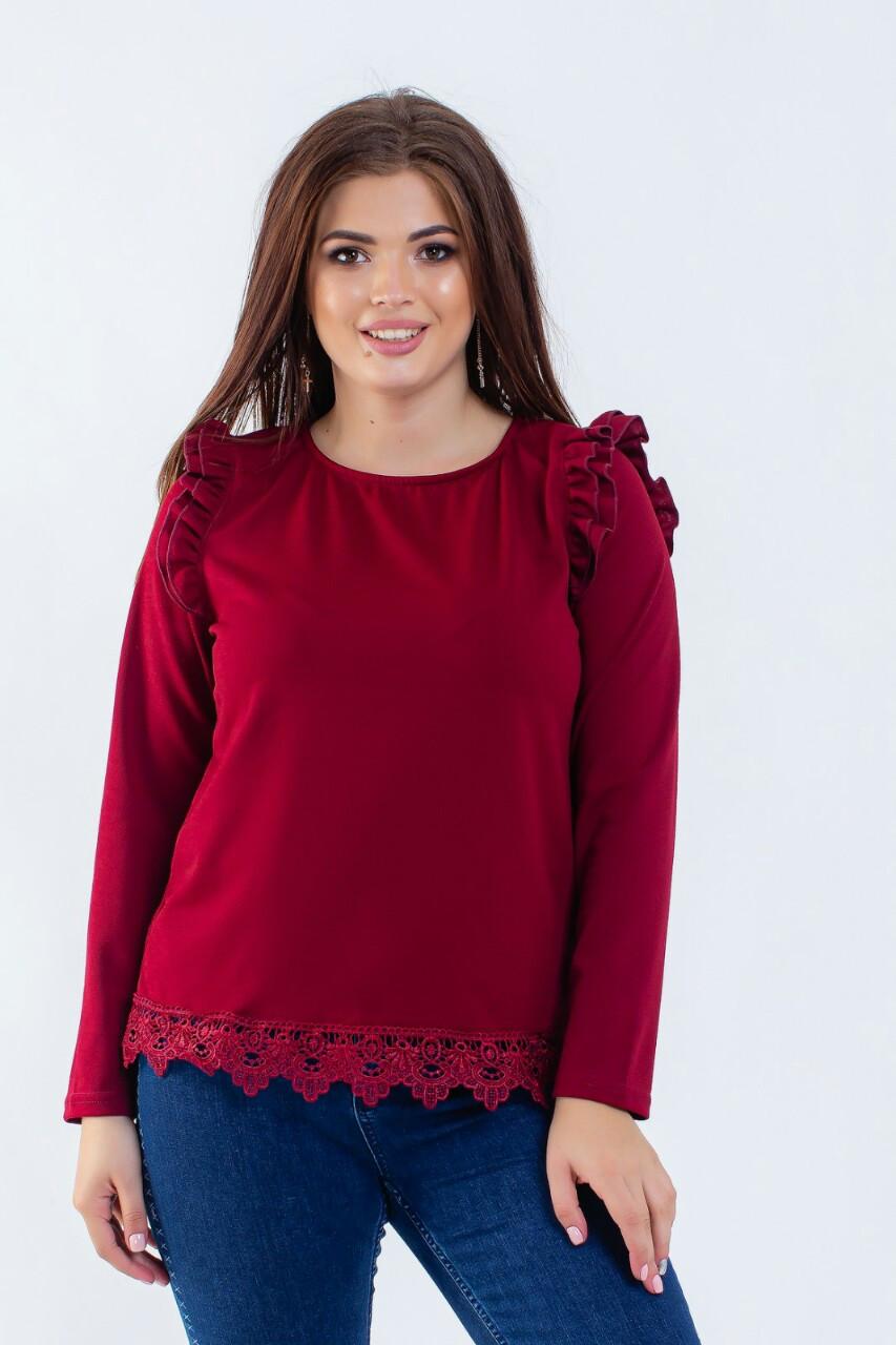 Блузка з довгим рукавом і мереживом 42-50 (в кольорах)