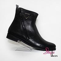 Ботинки женские демисезонные черного цвета натуральная кожа