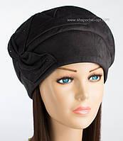 Черная женская шапка Румми из искусственной замши