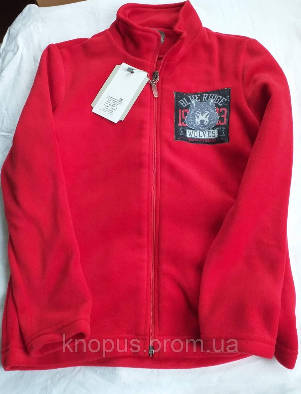 Флисовая кофта для мальчика на молнии, красная, Зиронька, размер 146
