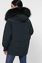 Тёмный хаки пуховик объемный короткий с капюшономи мехом енота размер 42,44,46, фото 3