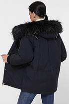 Чёрный пуховик объемный короткий с капюшономи мехом чернобурки размер 42,44,46, фото 3