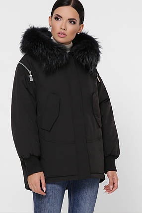 Чёрный пуховик объемный короткий с капюшономи мехом чернобурки размер 42,44,46, фото 2