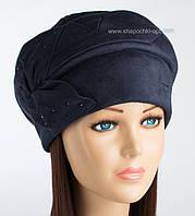 Женская теплая шапка Румми синего цвета