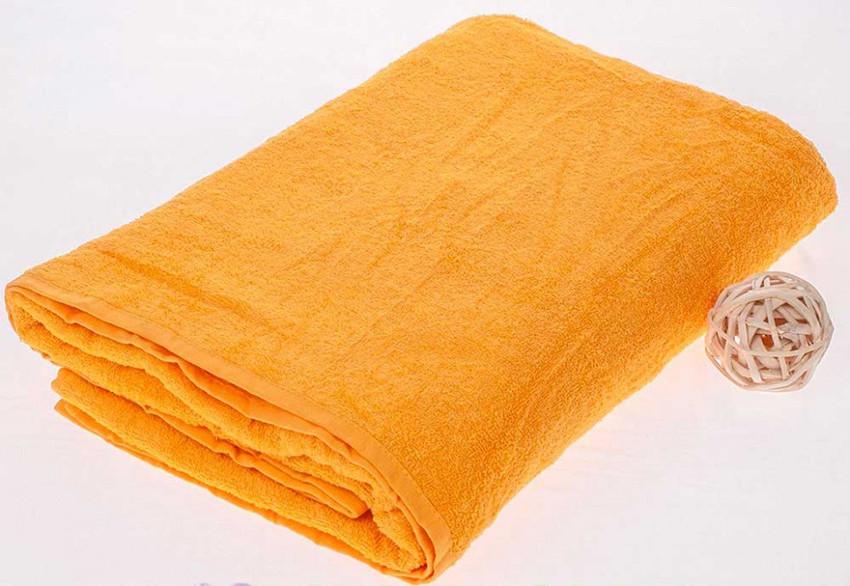 Махровая простынь желтого цвета 150х210