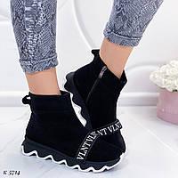 Женские осенние ботинки черные натуральная замша, фото 1