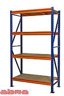 Стеллаж металлический для склада/магазина/гаража SN 2000х1840х600, покрашенный, 4 полки ДСП, до 800 кг/ярус