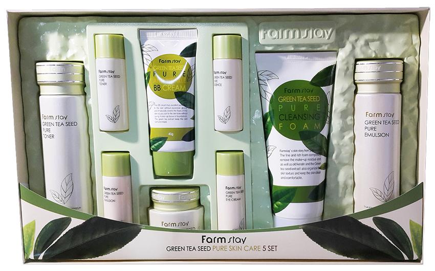 Набор по уходу за кожей лица на основе зеленого чая - FARMSTAY GREEN TEA SEED PURE SKIN CARE 9 SET