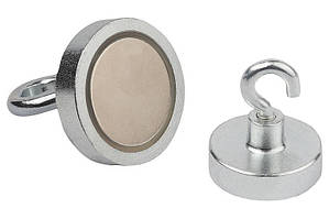 Неодимовый магнит Е25 25мм * 7мм крепежный в корпусе с резьбой и крючком в комплекте17кг