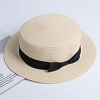 Детская шляпка соломенная бежевый