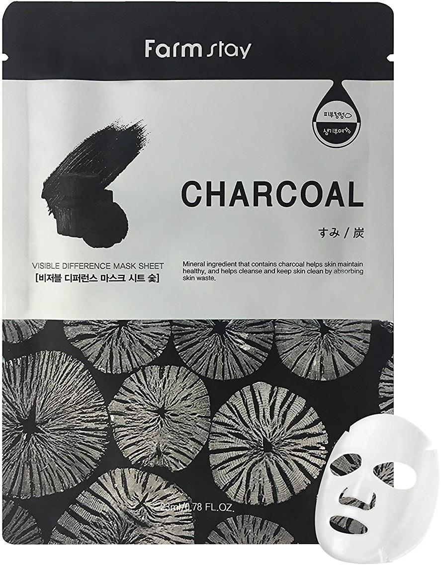 Маска тканевая с древесным углем FarmStay Visible Difference Mask Sheet Char-Coal 1шт
