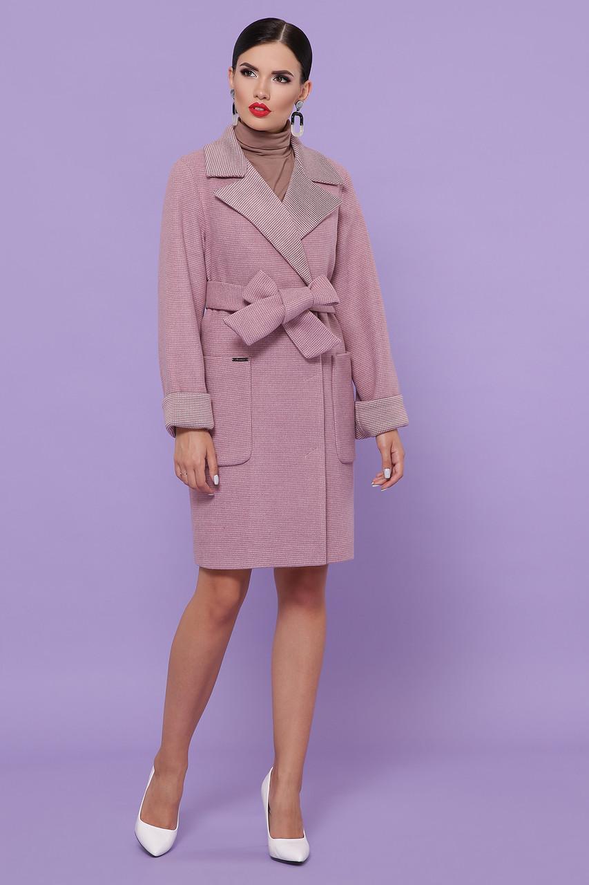 Женское стильное розовое пальто на осень до колен с поясом Пальто П-347-М-90