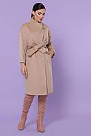 Прямое бежевое женское пальто с поясом ниже колен Пальто П-366-100