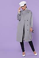 Прямое серое женское пальто с поясом ниже колен Пальто П-366-100