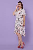Женское серое платье больших размеров на запах средней длинны в цветочный принт  платье Алесия-Б к/р