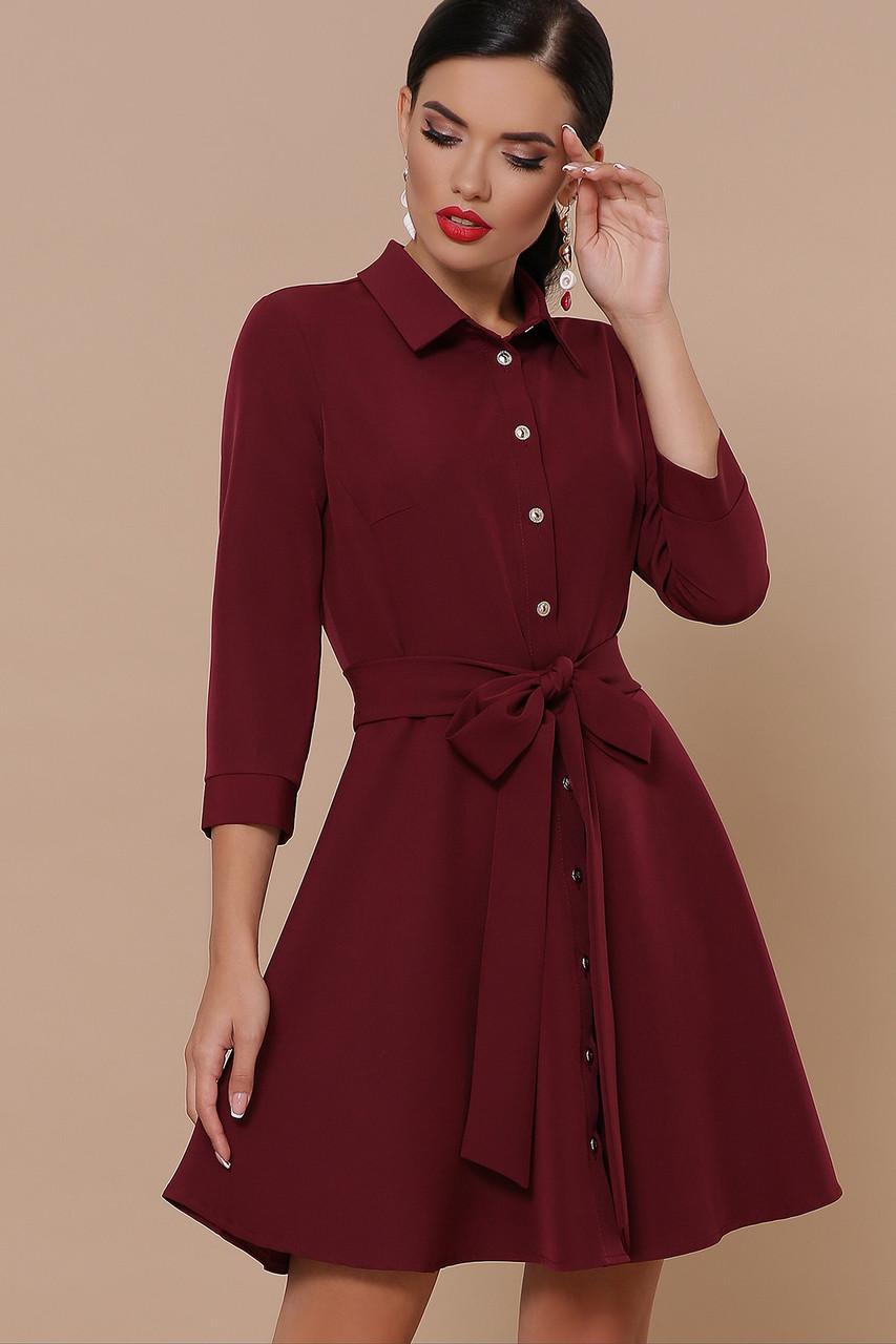 Бордовое классическое женское платье-рубашка с пояском платье Ефимия (кор.) д/р