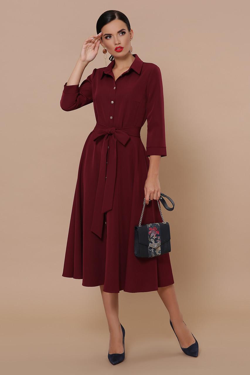 Бордовое классическое женское платье-рубашка миди с пояском платье Ефимия (кор.) д/р